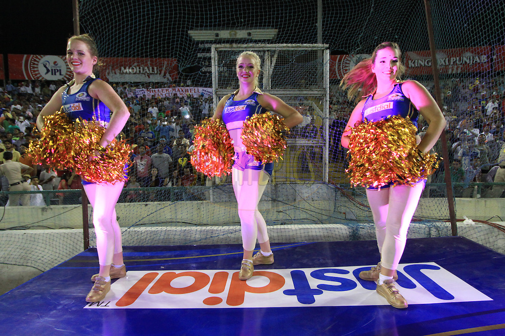 Mumbai Indians cheerleaders performed during match 48 of the Pepsi Indian Premier League Season 2014 between the Kings XI Punjab and the Mumbai Indians held at the Punjab Cricket Association Stadium, Mohali, India on the 21st May  2014<br /> <br /> Photo by Arjun Panwar / IPL / SPORTZPICS<br /> <br /> <br /> <br /> Image use subject to terms and conditions which can be found here:  http://sportzpics.photoshelter.com/gallery/Pepsi-IPL-Image-terms-and-conditions/G00004VW1IVJ.gB0/C0000TScjhBM6ikg