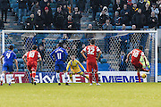 Gianvito Plasmati scores from the penalty spot during the Sky Bet League 1 match between Gillingham and Leyton Orient at the MEMS Priestfield Stadium, Gillingham, England on 15 November 2014.