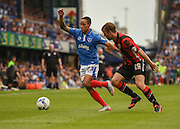 Kyle Bennett on the ball during the Sky Bet League 2 match between Portsmouth and Morecambe at Fratton Park, Portsmouth, England on 22 August 2015. Photo by David Charbit.