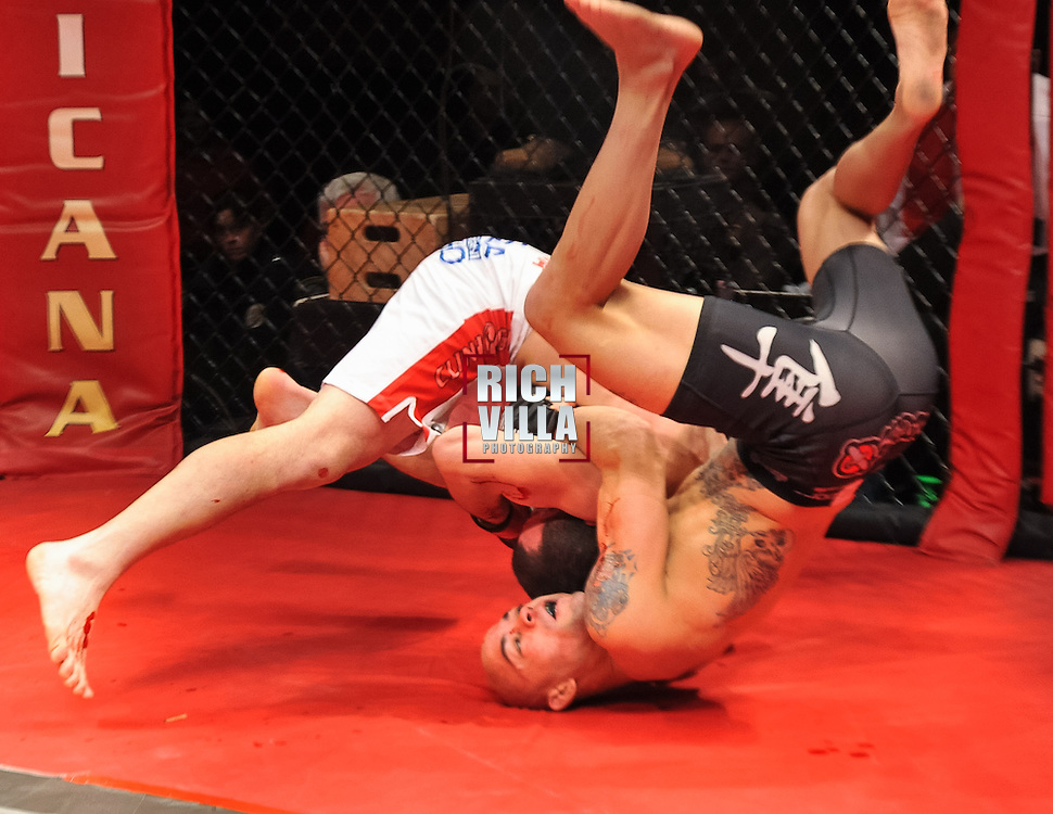 Atlantic City, New Jersey, January 24, 2014: Darren Mima(black shorts) Vs Merab Dvalishvili(white/red shorts) at Ring of Combat 47 at The Tropicana Casino.