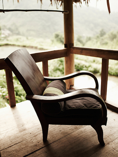 Wood Chair On A Stilt House Terrace In Hieu Resort, Pu Luong Natural  Reserve,