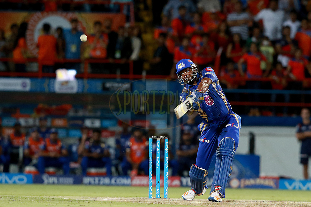 Kieron Pollard of MI plays a shot Super Over during match 35 of the Vivo 2017 Indian Premier League between the Gujarat Lions and the Mumbai Indians  held at the Saurashtra Cricket Association Stadium in Rajkot, India on the 29th April 2017<br /> <br /> Photo by Rahul Gulati - Sportzpics - IPL