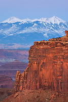 View of the La Sal Mountains at dusk from Canyonlands National Park Utah