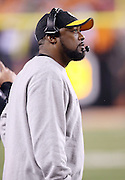 Pittsburgh Steelers head coach Mike Tomlin looks on from the sideline during the NFL AFC Wild Card playoff football game against the Cincinnati Bengals on Saturday, Jan. 9, 2016 in Cincinnati. The Steelers won the game 18-16. (©Paul Anthony Spinelli)