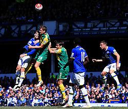 Everton's John Stones challenges Ryan Bennett of Norwich City for a header - Mandatory byline: Matt McNulty/JMP - 15/05/2016 - FOOTBALL - Goodison Park - Liverpool, England - Everton v Norwich City - Barclays Premier League