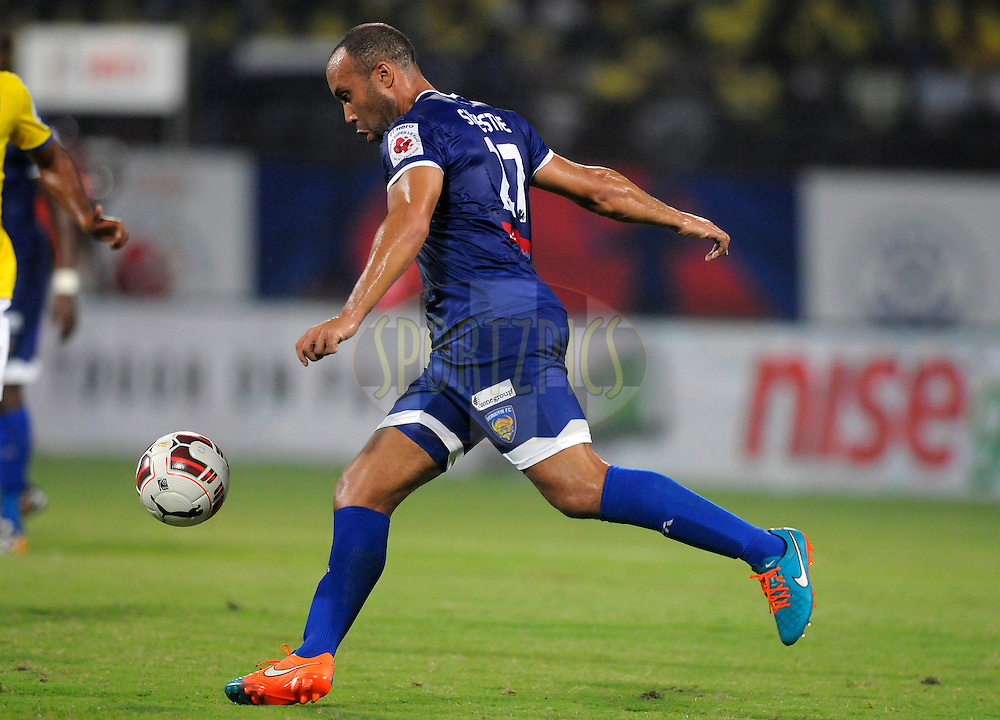 Mikael Silvestre of Chennaiyin FC during match 45 of the Hero Indian Super League between Kerala Blasters FC and Chennaiyin FC held at the Jawaharlal Nehru Stadium, Kochi, India on the 30th November.<br /> <br /> Photo by:  Pal Pillai/ ISL/ SPORTZPICS