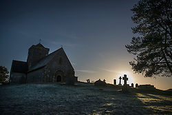 © Licensed to London News Pictures. 05/01/2017. Chilworth UK. A frosty sunrise at St Martha's church on the North Downs.  A continuing cold spell has seen temperatures as low as -6 in some areas. Photo credit: Peter Macdiarmid/LNP