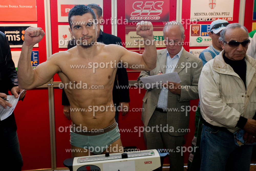 Stjepan Bozic of Croatia at official weighing before box fighting, on April 8, 2010, in Avto Delta, Ljubljana, Slovenia.  (Photo by Vid Ponikvar / Sportida)