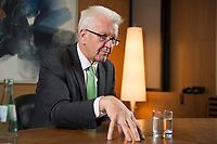 25 SEP 2015, BERLIN/GERMANY:<br /> Winfried Kretschmann, B90/ Gruene, Ministerpraesident Baden-Wuerttemberg, waehrend einem Interview, Bundesrat<br /> IMAGE: 20150925-02-004