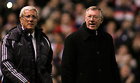 Photo: Paul Thomas.<br /> Manchester United v Europe XI. Friendly match. 13/03/2007.<br /> <br /> Managers Marcello Lippi (L) for Europe and Utd's Sir Alex Ferguson walk out before the game.