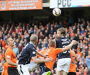 Dundee's Craig Wighton is highest as a cross goes into Dundee United's box - Dundee United v Dundee at Tannadice Park in the SPFL Premiership<br /> <br />  - © David Young - www.davidyoungphoto.co.uk - email: davidyoungphoto@gmail.com