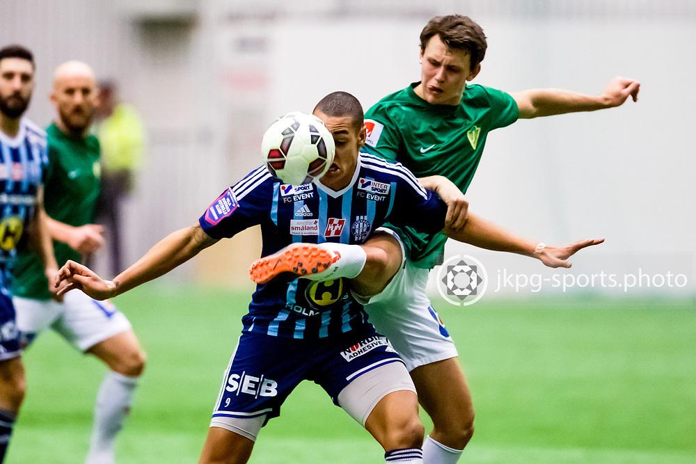 150124 Fotboll, Tr&auml;ningsmatch, J&ouml;nk&ouml;pings S&ouml;dra IF - Husqvarna FF<br /> Simon Adjei, Husqvarna FF vs Max Watson, J&ouml;nk&ouml;pings S&ouml;dra IF<br /> &copy; Daniel Malmberg/All Over Press