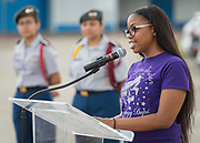 Raqeal Peterson comments during a groundbreaking ceremony at Barbara Jordan Career Center, May 9, 2017.