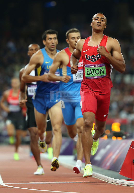 Ashton Eaton of the USA runs in the 1500m portion of the decathlon to on his way to win the gold medal during track and field at the Olympic Stadium during day 13 of the London Olympic Games in London, England, United Kingdom on August 9, 2012..(Jed Jacobsohn/for The New York Times)..