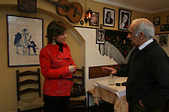 Katia Guerreiro with Luis de Castro a fado history researcher at  a Fado venue room, Fado Maior, in Alfama in Lisbon. Fado singer Katia Guerreiro is one of the young singers generation  that are bringing a new strenght to this traditional kind of portuguese music.