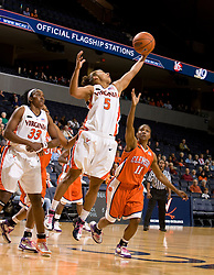 Virginia guard Sharnee Zoll (5) grabs a rebound against Clemson.  The Virginia Cavaliers women's basketball team defeated the Clemson Tigers 83-71 at the John Paul Jones Arena in Charlottesville, VA on February 21, 2008.
