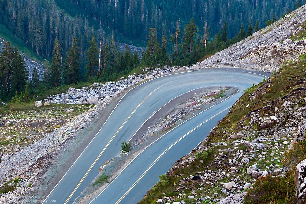 The Mount-Baker Highway hairpin turn in the apline below Artist Point in the Mount Baker Wilderness