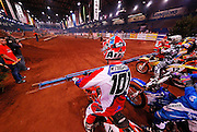David Knight #101 and Ty Davis #14 at starting line of 2007 Maxxis AMA Endurocross at Lazy E Arena in Guthrie, OK.  Event was won by David Knight