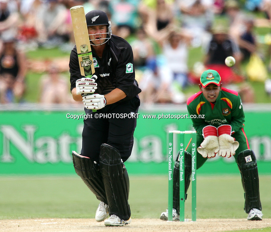 Peter Fulton watches his shot. New Zealand v Bangladesh, 2nd ODI, McLean Park, Napier, New Zealand. Friday 28 December 2007. Photo: John Cowpland/PHOTOSPORT