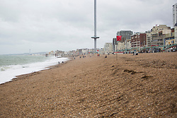 © Licensed to London News Pictures. 04/09/2016. Brighton, UK. A new deserted Brighton beach as a cold spell with strong winds is hitting the sea side resort. Photo credit: Hugo Michiels/LNP