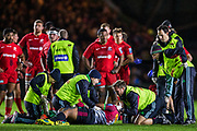Paul Lasike, (Harlequins) receiving treatment for an injury during the Gallagher Premiership Rugby match between Harlequins and Saracens at Twickenham Stoop, Twickenham, United Kingdom on 6 October 2018.
