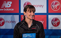 Manuela Schar SUI at a press conference at the Guoman Tower Hotel for the winners of The Abbott World Marathon Majors Series XI, 23 April 2018.<br /> <br /> Photo: Thomas Lovelock for Virgin Money London Marathon<br /> <br /> For further information: media@londonmarathonevents.co.uk