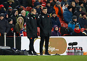 Jamie Clapham First Team Coach of Leeds United and Paul Heckingbottom Head Coach of Leeds United during the EFL Sky Bet Championship match between Middlesbrough and Leeds United at the Riverside Stadium, Middlesbrough, England on 2 March 2018. Picture by Paul Thompson.