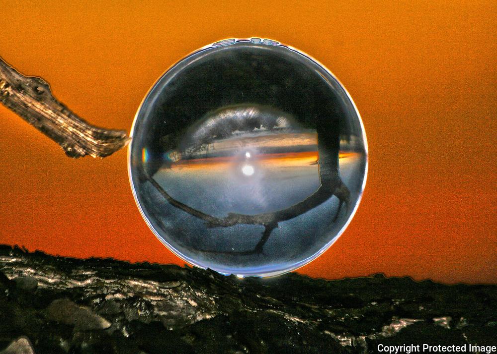 Crystal on a rock at sunrise or sunset on Jekyll Island beach