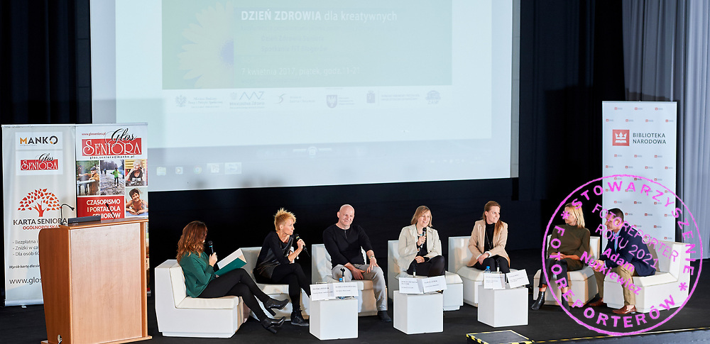 Warsaw, Poland - 2017 April 07: (L-R) Monika Holdak - advertising strategist, trend analyst and Kamila Nowowiejska - instructor and fitness coach and Pawel Jurek - scriptwriter and athlete and Dorota Pietrzak - Matusik - psychologist of the Polish Olympic Committee and Agnieszka Prusinska - head of physiotherapist team at Rehasport and Sylwia Antoszkiewicz - image consultant, owner of Lous fashion brand and Tomasz Boruc - World Champion in Kyokushin Karate and Health Manager attend in The Day of Health - science conference in the National Library on April 07, 2017 in Warsaw, Poland.<br /> <br /> Mandatory credit:<br /> Photo by © © Adam Nurkiewicz / Mediasport / Mediasport<br /> <br /> Picture also available in RAW (NEF) or TIFF format on special request.<br /> <br /> Any editorial, commercial or promotional use requires written permission from the author of image.<br /> <br /> Adam Nurkiewicz declares that he has no rights to the image of people at the photographs of his authorship.