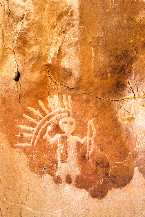 A petroglyph of the Monster Slayer, one of the Hero Twins. This petroglyph was created by the Dinetah, the ancestors of the Navajo people. Largo Canyon, New Mexico.
