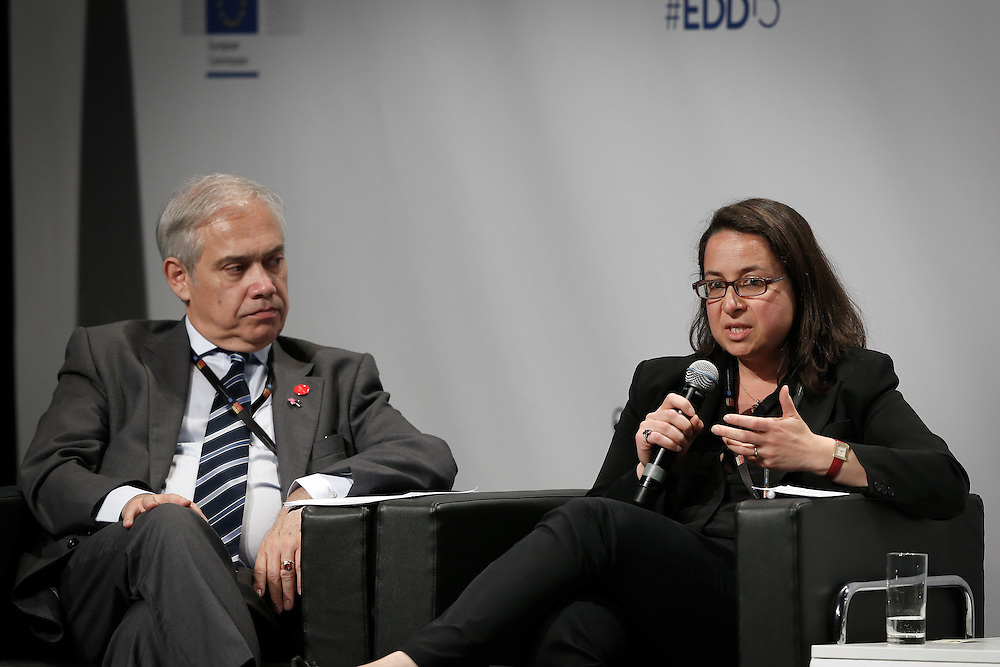 04 June 2015 - Belgium - Brussels - European Development Days - EDD - Growth , jobs and partnership with business - How to make a difference together in contributing to a sustainable and inclusive growth agenda - Fernando Frutuoso de Melo , Director General , Directorate-General for International Cooperation and Development , European Commission - Laure Wessemius-Chibrac , Director for Investments , CORDAID © European Union
