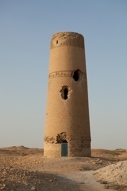 The Abu-Jafar Akhmed minaret, one of the remaining buildings in the ruins of Dekhistan, Turkmenistan