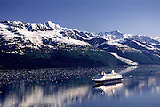 Holland America cruise ship Ryndam in College Fjord, Prince William Sound, Alaska.