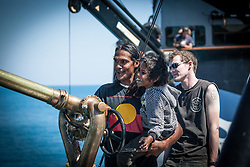 Local man Albert Wiggan with his son on board Sea Shepherd's the Steve Irwin during Operation Kimberley Miinimbi in August 2012.