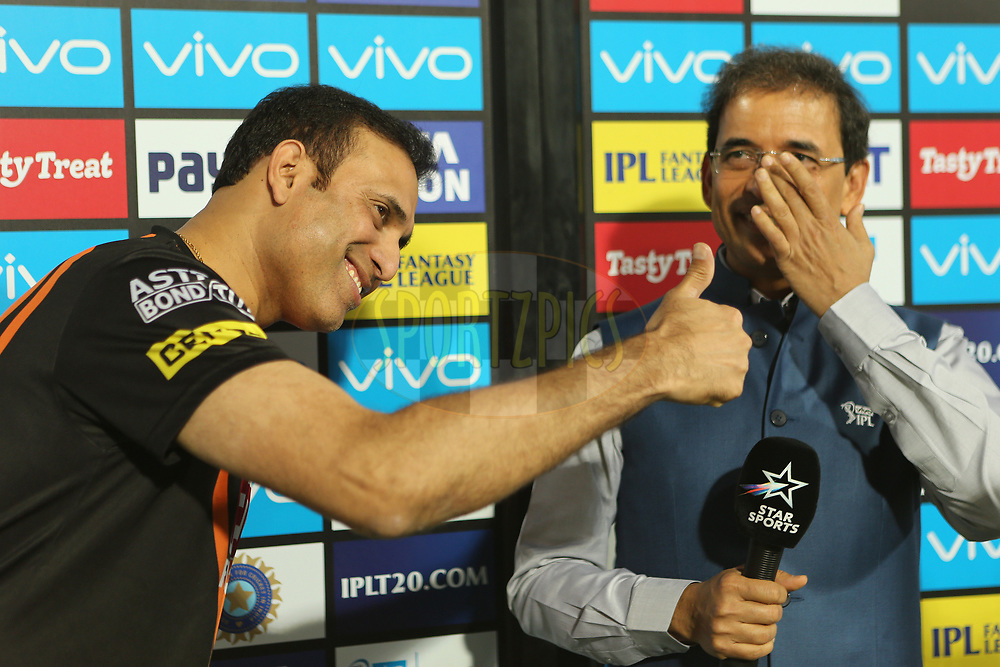 VVS Laxman is interviewed by Harsha Bhogle during match twenty five of the Vivo Indian Premier League 2018 (IPL 2018) between the Sunrisers Hyderabad and the Kings XI Punjab  held at the Rajiv Gandhi International Cricket Stadium in Hyderabad on the 26th April 2018.<br /> <br /> Photo by: Ron Gaunt /SPORTZPICS for BCCI