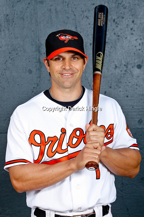February 26, 2011; Sarasota, FL, USA; Baltimore Orioles second baseman Brian Roberts (1) poses during photo day at Ed Smith Stadium.  Mandatory Credit: Derick E. Hingle