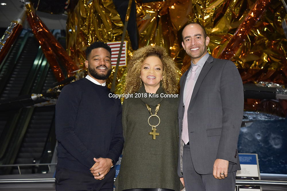 "Director Ryan Coogler, costume designer Ruth Carter, executive producer Nate Moore, join moderator  Ta-Nehisi Coates in discussion following a special advance screening of ""Black Panther"" on Sunday, February 11 for Howard University students at the National Air and Space Museum in Washington, D.C. (Photo by Kris Connor for Disney)"