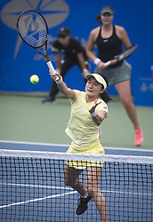 WUHAN, Sept. 27, 2018  Shuko Aoyama (front) of Japan and Lidziya Marozava of Russia compete during doubles quarterfinal match against Timea Babos of Hungary and Kristina Mladenovic of France at the 2018 WTA Wuhan Open tennis tournament in Wuhan of central China's Hubei Province, on Sept. 27, 2018. Shuko Aoyama and Lidziya Marozava won 2-0. (Credit Image: © Xiao Yijiu/Xinhua via ZUMA Wire)