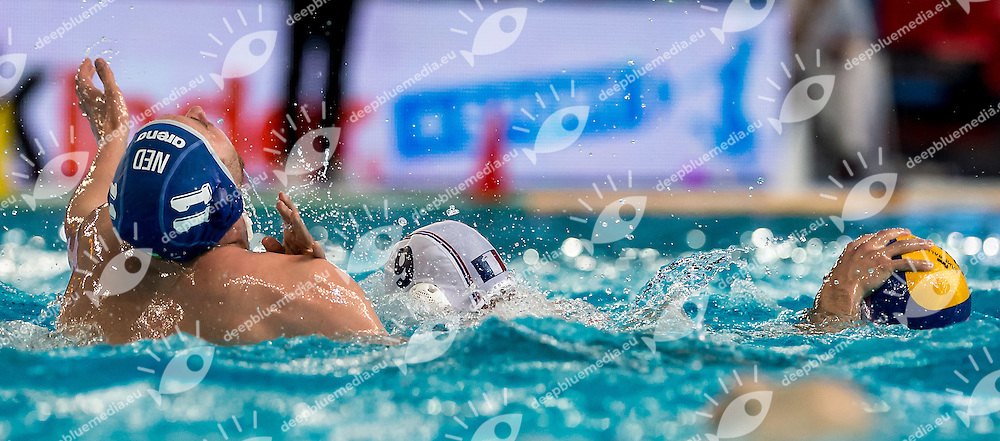 11 KOOPMAN NED 9 MARZOUKI FRA<br /> FINA Men's Water Polo Olympic Games Qualifications Tournament 2016<br /> quarter final<br /> France FRA (White) Vs Netherlands NED (Blue)<br /> Trieste, Italy - Swimming Pool Bruno Bianchi<br /> Day 06  08-04-2016<br /> Photo G.Scala/Insidefoto/Deepbluemedia