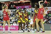 England Women GA Helen Housby looking for options and to pass to GS Rachel Dunn in front of the the Ugandan defense during the Netball World Cup 2019 Preparation match between England Women and Uganda at Copper Box Arena, Queen Elizabeth Olympic Park, United Kingdom on 30 November 2018.