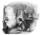 The Tale of a Tea-kettle'.  James Watt as a boy watching the kettle boiling in the fire. Watt (1736-1819) made great improvements to the steam engine, one of the most significant being the separate condenser.  In 1774 he went into partnership with Matthew Boulton (1728-1809) the Birmingham manufacturer and entrepreneur. Illustration by Ebenezer Landells (1808-1860) English illustrator and engraver, from 'Illuminated Magazine'. (London, 1844). Wood engraving.