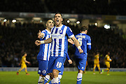 Brighton striker, Tomer Hemed (10) celebrates his second goal 2-0 during the Sky Bet Championship match between Brighton and Hove Albion and Fulham at the American Express Community Stadium, Brighton and Hove, England on 15 April 2016. Photo by Phil Duncan.
