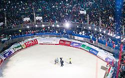 11.02.2013, Planai, Schladming, AUT, FIS Weltmeisterschaften Ski Alpin, Super Kombination, Slalom, Herren, im Bild Silbermedaillen Gewinner Ivica Kostelic (CRO), Goldmedaillen Gewinner Ted Ligety (USA) und Bronzemedaillen Gewinner Romed Baumann (AUT)  im Zielstadion // Ivica Kostelic of Croatia wins the Silver Medal, Ted Ligety of United States wins the Gold Medal and Romed Baumann of Austria wins the Bronze Medal in the Finish Area. during Mens Super Combined Slalom at the FIS Ski World Championships 2013 at the Planai Course, Schladming, Austria on 2013/02/11. EXPA Pictures © 2013, PhotoCredit: EXPA/ Johann Groder