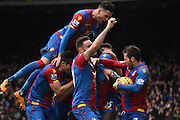 Crystal Palace celebrate Joe Ledley's opening goal during the Barclays Premier League match between Crystal Palace and Liverpool at Selhurst Park, London, England on 6 March 2016. Photo by Michael Hulf.