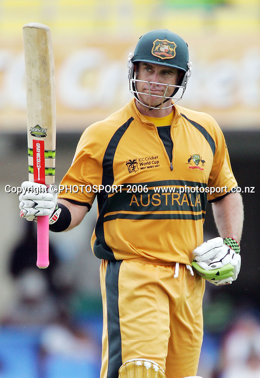 Australian opening batsman Matthew Hayden acknowledges his team mates after scoring his centuryduring the Super 8 Cricket World Cup match, West Indies vs Australia at the Sir Vivian Richards Cricket Ground in Antigua, West Indies on Tuesday 27 March 2007. Photo: Andrew Cornaga/PHOTOSPORT<br /><br /><br />270307