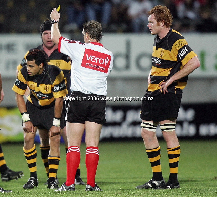 Paul Tito captain of Taranaki is unimpressed as team mate Lifeimi Mafi gets yellow carded for a dangerous tackle on Tristan Moran of Tasman during the Air NZ Cup rugby match between Taranaki and Tasman at Yarrow Stadium, New Plymouth, New Zealand on Saturday 30 September, 2006. Photo: Marty Melville/PHOTOSPORT