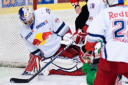 Joshua Tordjman (Red Bull Salzburg, #39) tries to cover a puck but puck crosses the goaline and HDD Olimpija ties the score on 2:2 during ice-hockey match between HDD Tilia Olimpija and EC Red Bull Salzburg in 26th Round of EBEL league, on November 27, 2011 at Hala Tivoli, Ljubljana, Slovenia. (Photo By Matic Klansek Velej / Sportida)