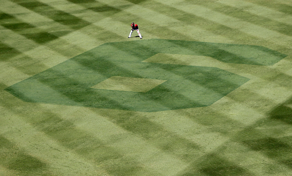 ATLANTA - OCTOBER 3:  Centerfielder Rick Ankiel #28 of the Atlanta Braves stands next to a #6 that is cut into the grass to honor Manager Bobby Cox during the game against the Philadelphia Phillies at Turner Field on October 3, 2010 in Atlanta, Georgia.  The Braves beat the Phillies 8-7.  (Photo by Mike Zarrilli/Getty Images)