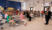 Staff and parents listen to Superintendent Richard Carranza during a stop of his Listen & Learn Tour of the district at Memorial Elementary School, September 16, 2016.