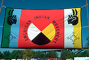 AIM banner at Native American Pow Wow, at Fort Snelling.  Mendota Heights Minnesota USA